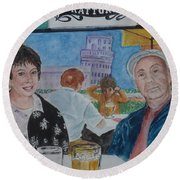 Joy And Frank Once Upon A Time In Tuscany Round Beach Towel