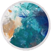 On A Summer Breeze- Contemporary Abstract Art Round Beach Towel