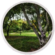 One Autumn Day - Central Park - Nyc Round Beach Towel