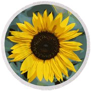 One Bright Sunflower - Digital Art Round Beach Towel