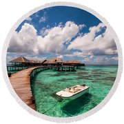 One Day At Heaven Round Beach Towel
