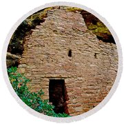 One Entry To Spruce Tree House On Chapin Mesa In Mesa Verde National Park-colorado  Round Beach Towel