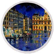 One Evening In Terreaux Square Lyon Round Beach Towel