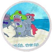 One Fish Two Fish Round Beach Towel