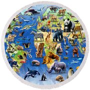 One Hundred Endangered Species Round Beach Towel