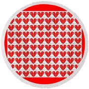 One Hundred Hearts Round Beach Towel