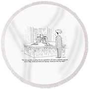 One Last Question Round Beach Towel by Robert Mankoff