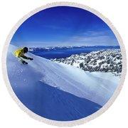 One Man Skiing In Powder High Round Beach Towel