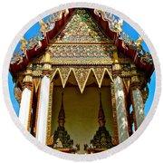 One Of Many Pagodas In Bangkok-thailand Round Beach Towel