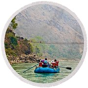 One Of Many Suspension Bridges Crossing The Seti River In Nepal Round Beach Towel