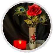 One Red Christmas Rose Round Beach Towel