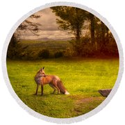 One Red Fox Round Beach Towel by Bob Orsillo