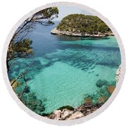 One Step To Paradise - Cala Mitjana Beach In Menorca Is A Turquoise A Cristaline Water Paradise Round Beach Towel