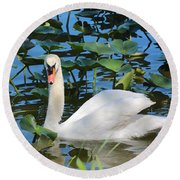 One Swan In The Lilies Round Beach Towel