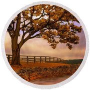 One Tree Hill Round Beach Towel by Lois Bryan