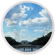 One View Two Memorials Round Beach Towel