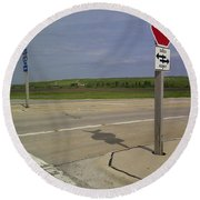 One Way Stop Round Beach Towel