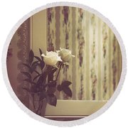 One White Rose Round Beach Towel