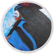 One With Raven Round Beach Towel