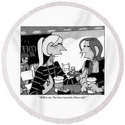 One Woman Speaks To Another Over Coffee Round Beach Towel by William Haefeli