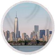 One World Trade Center And Ellis Island 2 Round Beach Towel