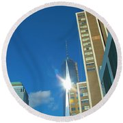 One World Trade Center Round Beach Towel by Dan Sproul