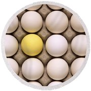 One Yellow Egg With White Eggs Round Beach Towel
