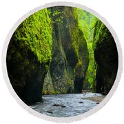 Oneonta River Gorge Round Beach Towel by Inge Johnsson