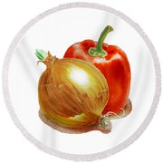Onion And Red Pepper Round Beach Towel