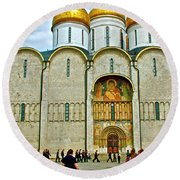 Onion Domes On Cathedral Of The Assumption Inside Kremlin In Moscow-russia Round Beach Towel