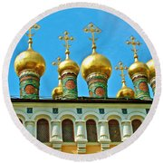 Onion Domes On Churches Of The Nativity And Deposition Of The Robe Inside Kreml Round Beach Towel