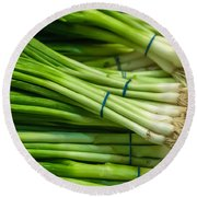 Onion With Chives Round Beach Towel
