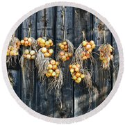 Onions And Barnboard Round Beach Towel