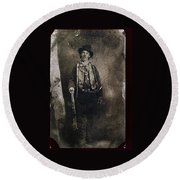 Only Authenticated Photo Of Billy The Kid Ft. Sumner New Mexico C.1879-2013 Round Beach Towel