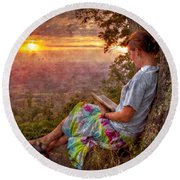 Only The Heart May Know Round Beach Towel