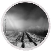 Onward - Railroad Tracks - Fog Round Beach Towel
