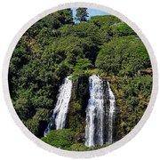 Opaekaa Falls In Kauai Round Beach Towel
