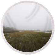 Opaque Foggy Morning Round Beach Towel