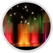 Open Air Theatre Rainbow Fountain Round Beach Towel