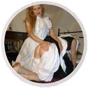Open Back Bloomers On A Naughty Maid Round Beach Towel