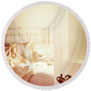 Open Bedroom Door Round Beach Towel