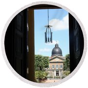Open Church Door - Macon Round Beach Towel