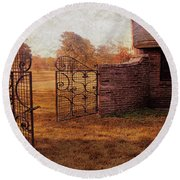 Open Gate By Cottage Round Beach Towel