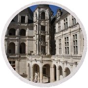 Open Staircase Chateau Chambord - France Round Beach Towel