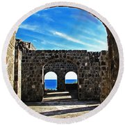 Open To The Sky Round Beach Towel