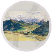 Open Valley. Dolomites Round Beach Towel