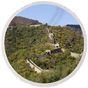 Open View Of The Great Wall 612 Round Beach Towel