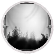 Open Window At Night Bw Round Beach Towel