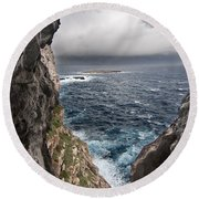 A Natural Window In Minorca North Coast Discover Us An Impressive View Of Sea And Sky - Open Window Round Beach Towel