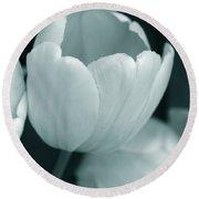 Opening Tulip Flower Teal Monochrome Round Beach Towel